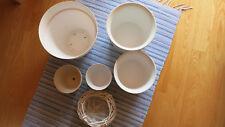 6 verschiedene Blumenübertöpfe Keramik, Kunststoff, Holzgeflecht in weiß - groß