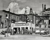 1939 Vintage GAS STATION PHOTO Old Cars SERVICE STATION Gas Pumps Butte Montana