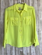 J.Crew Blythe Blouse Vibrant Neon Yellow Button Down Long Sleeve Top 4 S Small *