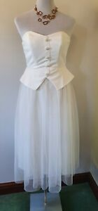 Off White Lace Skater Strapless Corset Bustier Boho Dress ASOS Size UK 10