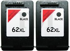 2 x 62 XL Black Remanufactured Ink Cartridges For HP Envy 5640 Printers