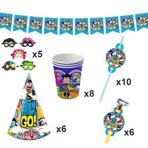 Teen Titans Go Birthday Party Supplies Superhero Decorations Cups Balloon Straws