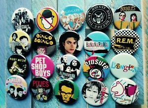 """80s New Wave Band button set, Lot of 20-1.25"""" 80s band New Wave buttons pins"""