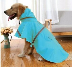 Nacoco X Large Dog Raincoat With Hood And Reflective Strips, Lake Blue Color