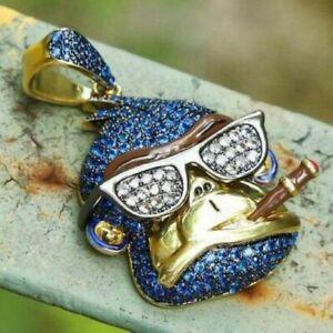 14k Yellow Gold Over Silver Blue Sapphire & Dia Addicted Monkey Men's Pendant