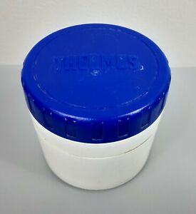 Thermos Model 1155 Jar 8oz  Blue lid White Soup Food Container FREE SHIPPING