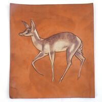 "Painting Of A Deer Tooled Leather Signed By Artist Made In England 8""x 9"""