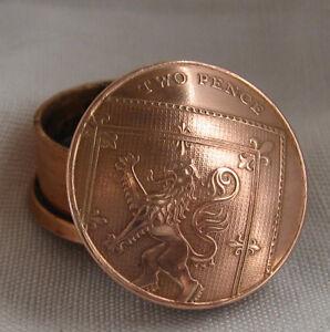 British Two Pence Coin Screw Lid Keepsake / Pill Box / Snuff Box / Birth Year