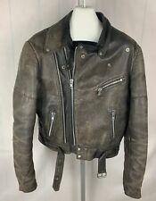 True Vintage BROWN Leather Jacket Motorcycle Biker SIZE 56 Fits Like a M (HR)