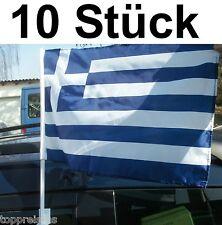 10x AUTOFAHNE GRIECHENLAND AUTOFAHNEN FLAGGE FAHNE WM AUTOFLAGGE σημαία Ελλάδα