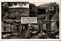 Rüdesheim am Rhein Mehrbildkarte ~1950/60 Rheinufer Innenansichten Drosselhof