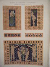 PLANCHE N° 53 JOURNAL LA DECORATION ART NOUVEAU PANNEAUX DE FIGURINES DE GEYLING