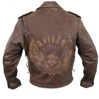 Brown Distressed Leather Motorcycle Armoured Jacket with Embossed Flying Skull