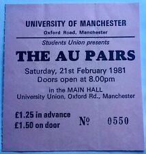 The Au Pairs Original Used Concert Ticket University Of Manchester 1981