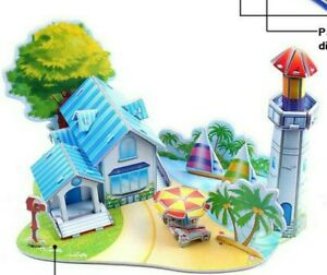 New 3D puzzle beach house light house with palm tree ocean holiday