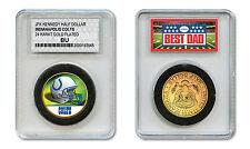 INDIANAPOLIS COLTS #1 DAD Licensed NFL 24KT Gold Clad JFK Coin in Slabbed Holder