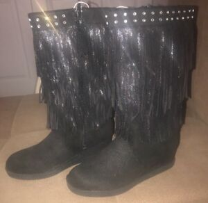 New Justice Black Boots Size 7