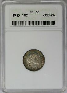 1915-P ANACS 10C Silver Barber Dime MS62 Old White Soapbox Holder Toned