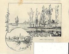Stampa antica PAVIA Coppia di Vedute della Certosa 1892 Old antique print