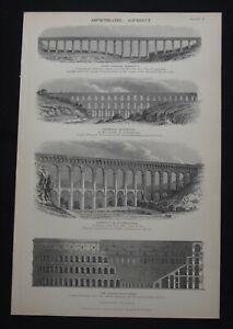 Antique Print: Amphitheatre & Aqueducts, The Popular Encyclopedia, 1892, B/W