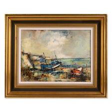 "Vintage American Impressionist Original Oil ""Moored Fishing Boats"""