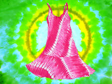 144✪ Ethno Indian Gipsy Hippie Batik Kleid 70er Jahre Blumenkinder Boho pink