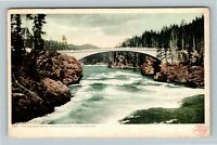 Yellowstone Park WY, Concrete Bridge, Grand Canyon, Vintage Wyoming Postcard