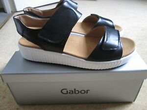 BNWB Black Leather Marlan Chunky Sandals From Gabor Size 40 UK - 7