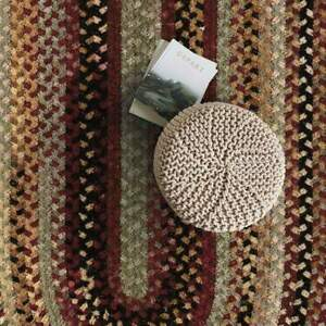 Capel Rugs Eaton Wool Soft Chenille Braided Country Oval Rug Wineberry 575