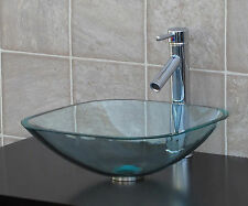 Bathroom Glass Vessel Vanity Sink Chrome Faucet TS12D1