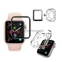 Full Cover Screen Protector & TPU Case For Apple Watch Series 4 3 42mm 40mm 44mm