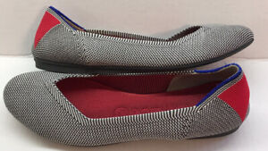 Rothys Cherry Ribbon Stripe Flats Woman's 7.5 Round Toe Excellent