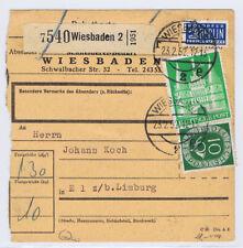 Bizone/Bauten, 97IIeg, MiF 128, Paketkarte Wiesbaden 23.2.52