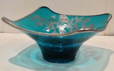 "Art Deco/MidCentury Floral Silver Overlay Rim Turquoise Glass 7.25"" Bowl/Ashtray"