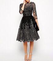 CHI CHI LONDON BLACK METALLIC LACE PROM WEDDING PARTY DRESS UK 8 10 12 14 16