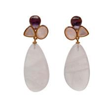 Natural Pink Rose Quartz  White Shell Amethyst Dangle Stud Earrings