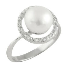 Fancy Sterling Silver ring with 8-9mm button shape freshwater pearl & CZ RS-135