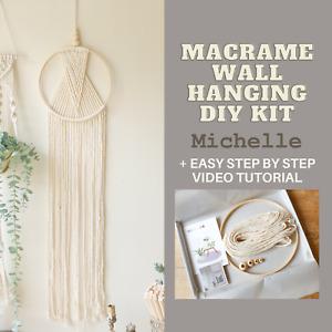 Macrame Wall Hanging DIY KIT(Dreamcatcher kit) for beginners w/ video tutorial