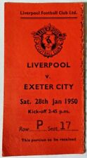 More details for liverpool v exeter city f.a. cup 4th round match ticket sat. 28th january 1950.