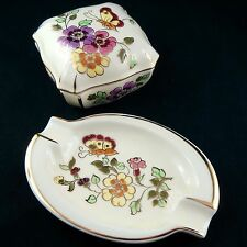 "DUO ""Boite à Bijoux, Vide-Poche"" ZSOLNAY PECS Hungary jewels box/jugendstil/20th"