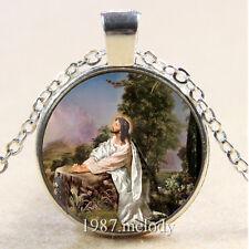New Vintage Cabochon Glass Silver/Bronze/Black Chain Pendant Necklace Jesus