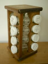 Vintage 1970s Solid Wood Lazy Susan Countertop Spice Rack Holder 15 Glass Jars