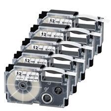 5PK XR-12X Compatible Casio Black on Clear Label Tape 12mm 1/2'' KL-100 KL-120