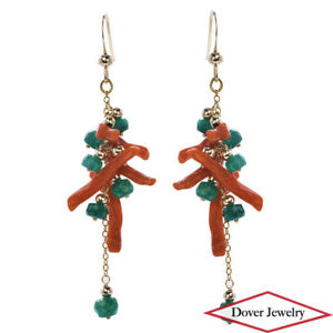 Estate Cabochon Emerald Coral 14K Gold Dangle Drop Earrings NR