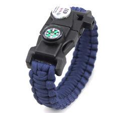 Outdoor Survival Wrist Paracord Bracelet Flint Fire Starter Compass Whistle LED