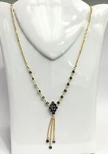 14k Solid Gold Cluster Dangle Pendant Necklace/Chain, Natural Sapphire 4.5TCW