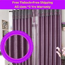 Blockout Fabric Design Drape Purple Valance Door Curtain Sheer Eyelet Rod Pocket
