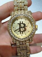 Bitcoin Iced Watch Bling Rapper Simulate Diamond Metal Band Hip Luxury Gold BTC