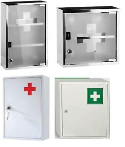 Wall Mounted Lock Metal/ Stainless Steel Medicine Cabinet First Aid Cupboard Box