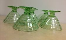 Set of 5 Anchor Hocking Depression Glass Green Optic Panel Pudding/Parfait Cups